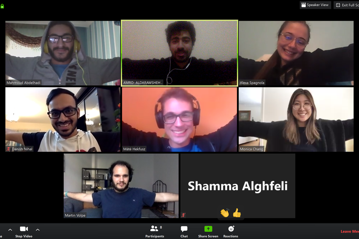 Screenshot of Zoom meeting with 8 participants