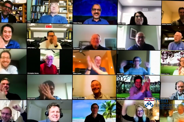 Screenshot of Penn Engineering faculty and staff congratulating Class of 2020