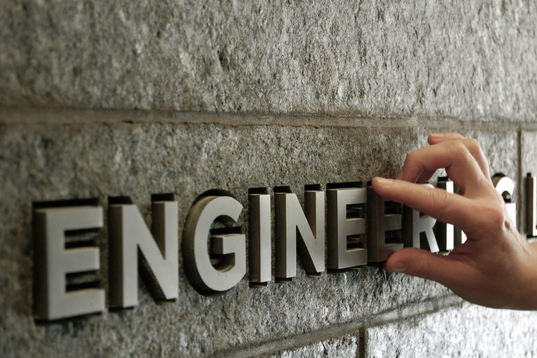 Engineering sign with hand