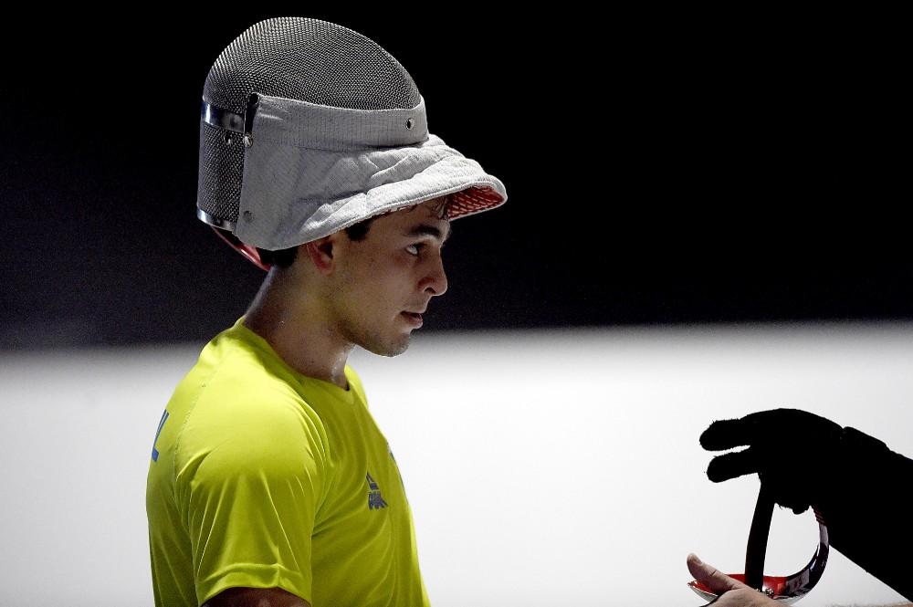 Enzo Bergamo in fencing gear
