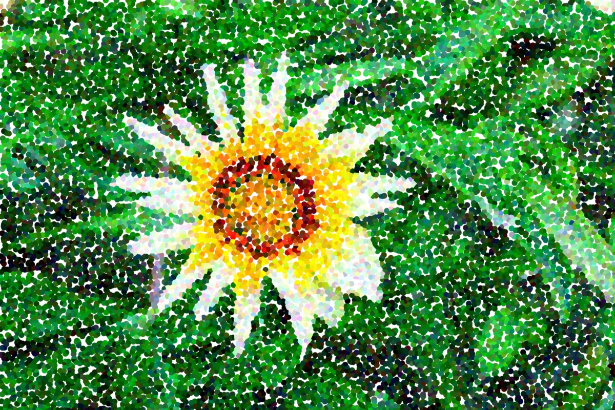 A pointillist painting of a flower.