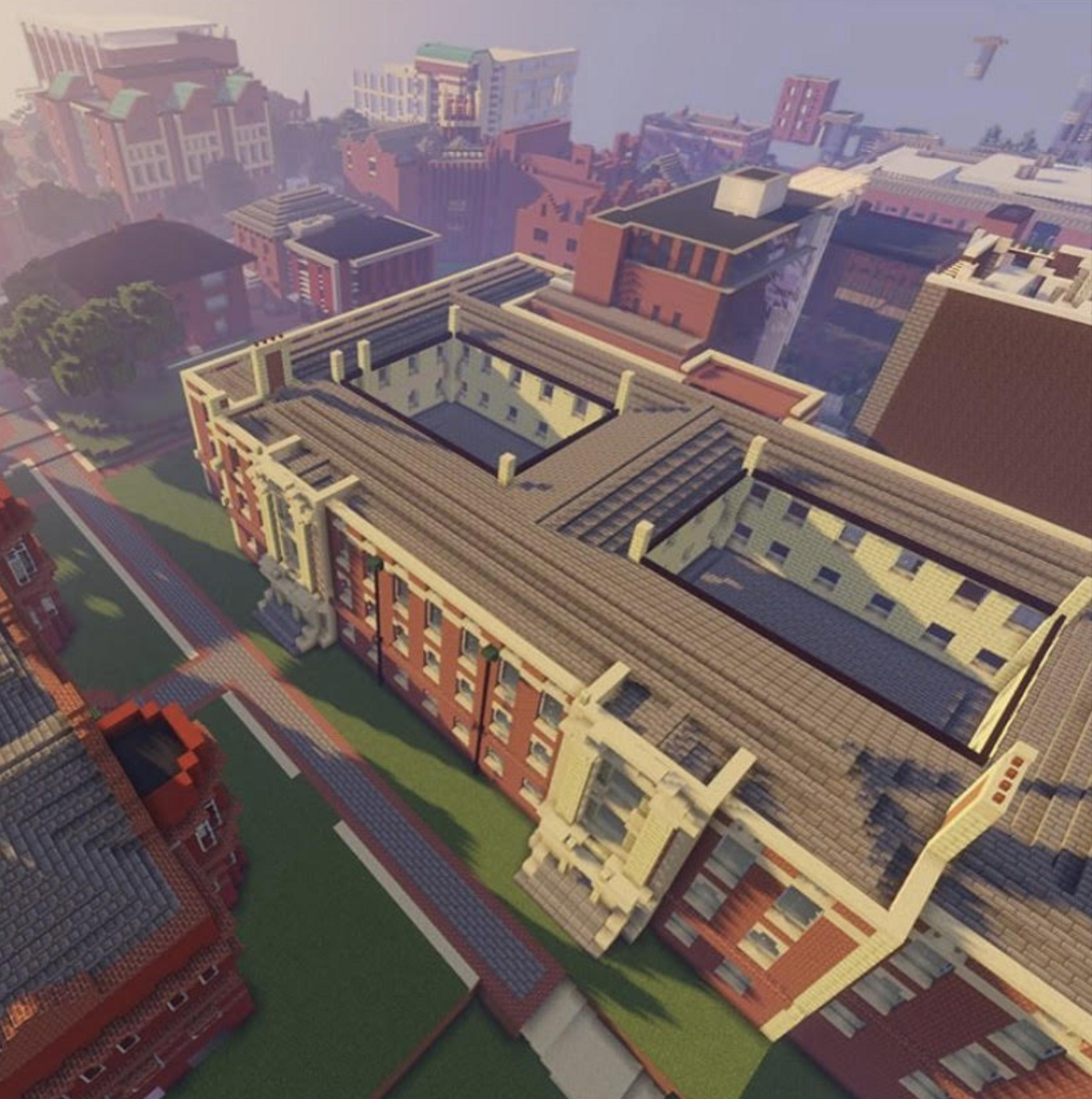 An aerial view of the engineering campus built in minecraft.