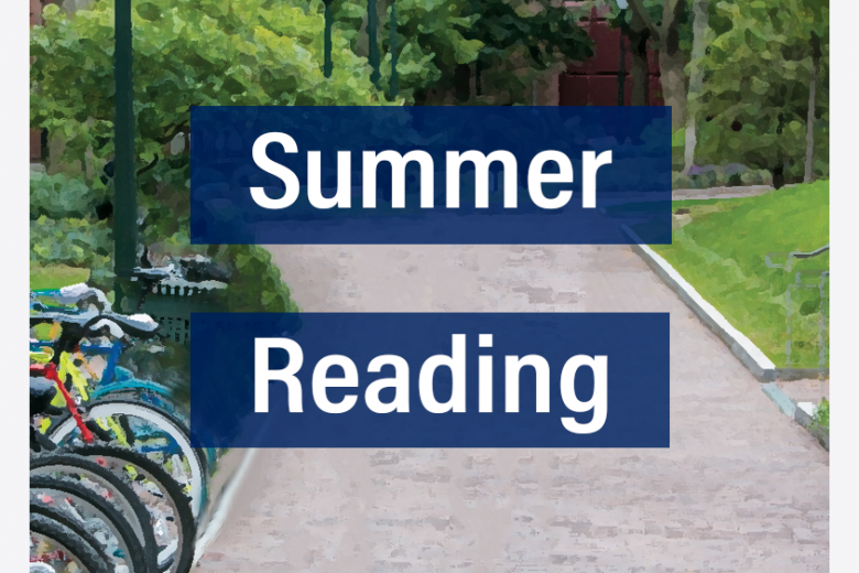 "A view of a walking path outside of the Towne Building, with the words ""Summer Reading"" overlaid"