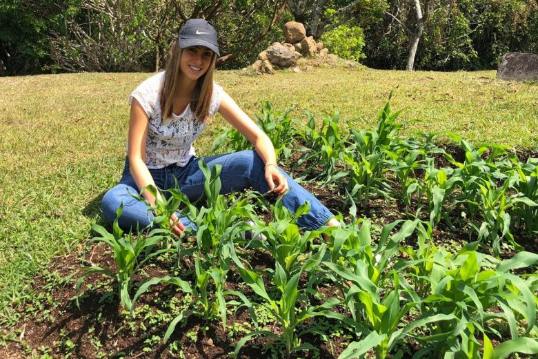 Maria Suarez in her garden