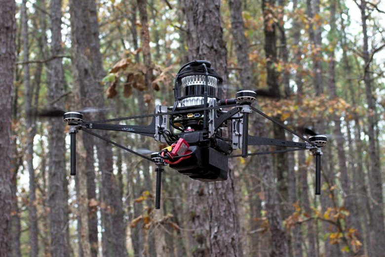One of Treeswift's flying robots on a test run.