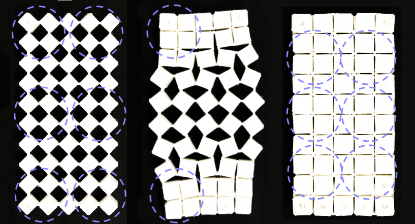 A kirigami structure made of linked cubes transforms in three phases.