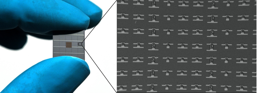 Gloved fingers holding a silicon wafer, with a zoomed in detail showing microscopic robots