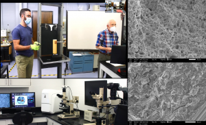 Photo compilation of Prof. Pope and Dr. Licurse teaching a live demo, Scanning Electron Microscope and computer set up, and images of fractured materials under the SEM.