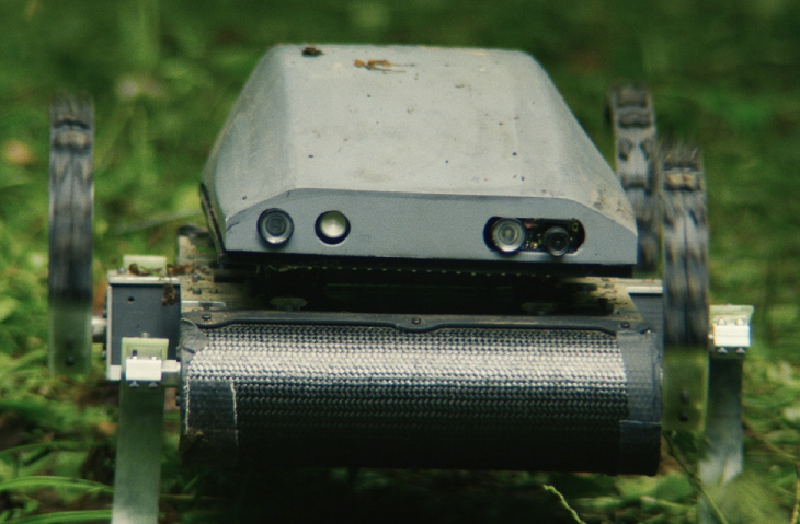 A close-up of the modified Kod*Lab robot known as Rhex as it appears in the film Lapsis.