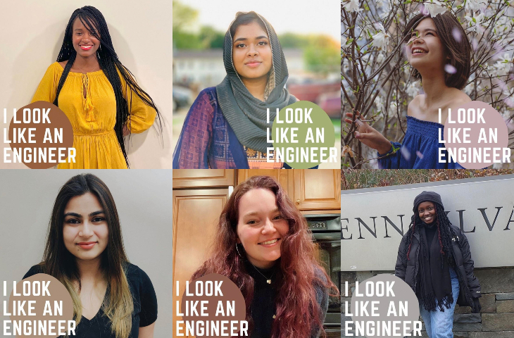 """Collage of students who participated in the """"I Look Like an Engineer"""" campaign."""