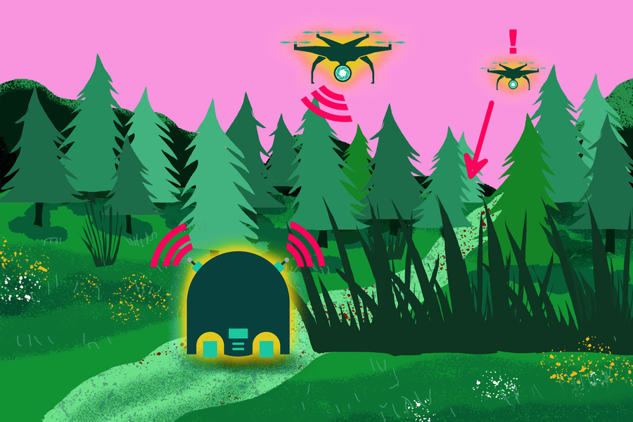 An illustration of robots collaborating in a forest, by Jose-Luis Olivares.