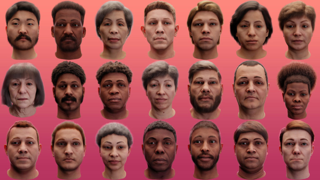 a grid of synthetic faces, created by Datagen, a synthetic data company