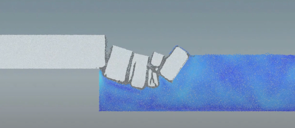 A computer model of icebergs falling into the sea as their glacier fractures.