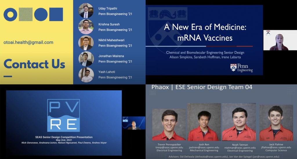 Screen shot of Senior Design Competition winners