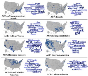 Six maps of the US showing different population clusters and word clouds representing differences in how they talk about COVID vaccines.