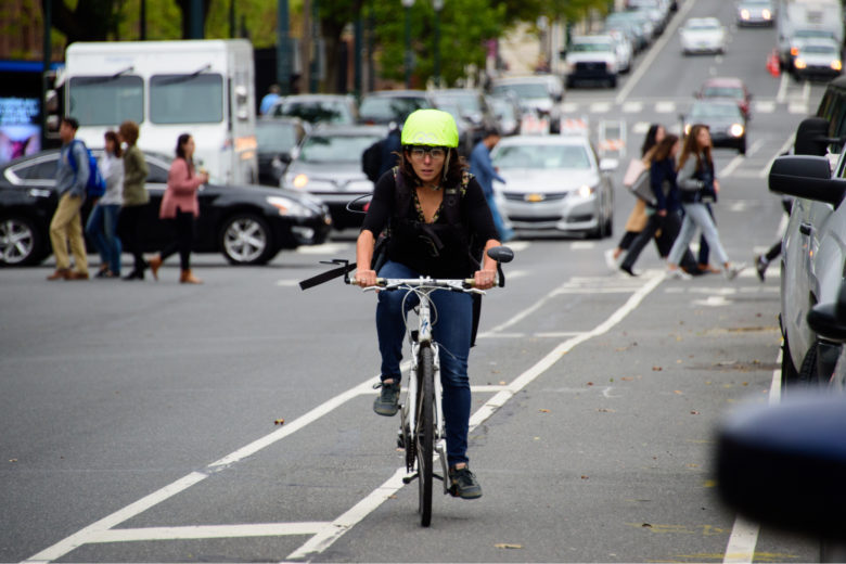 Using eye tracking data from cyclists navigating through Center City, researchers from the lab of Megan Ryerson (above) describe how biometric data can be used to find potentially challenging and dangerous areas of urban infrastructure. (Image: Thomas Orgren)