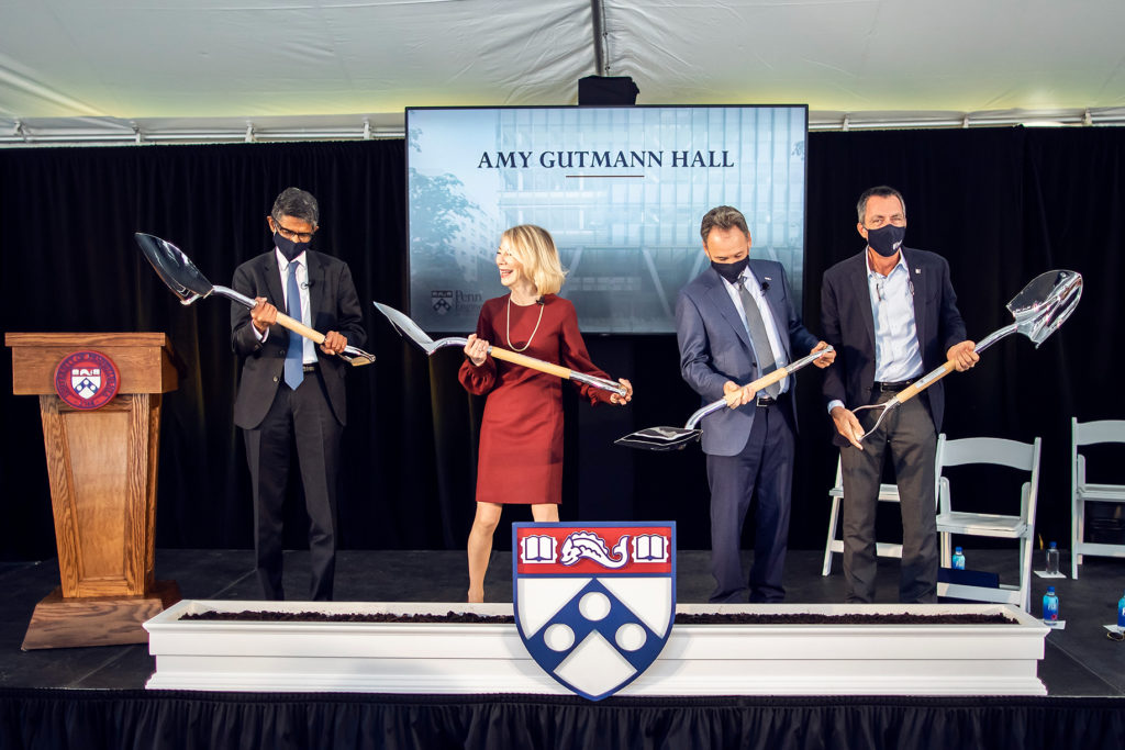 Vijay Kumar, Amy Gutmann, Harlan Stone and Rob Stavis holding ceremonial shovels.