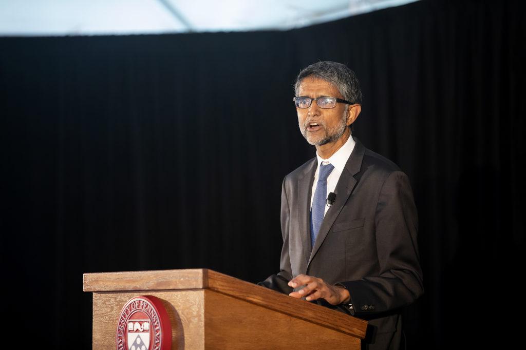 Vijay Kumar speaks at the groundbreaking of Amy Gutmann Hall